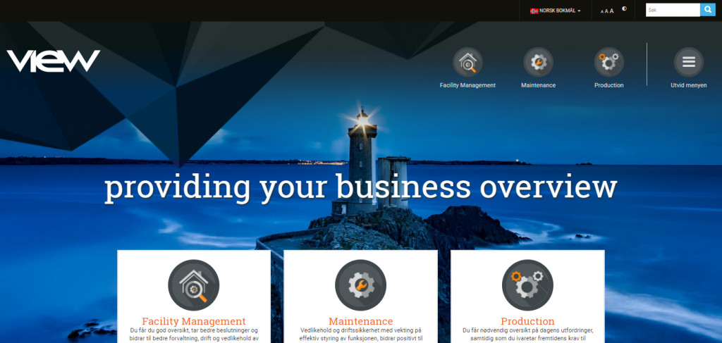 View frontpage with the lighthouse and business areas. Screenshot
